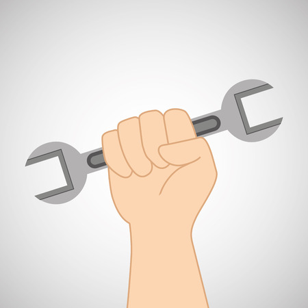 architectural team: hand holding construction wrench icon, vector illustration Illustration