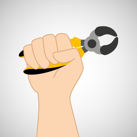 hand holding construction tool icon, vector illustration