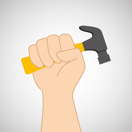 architectural team: hand holding construction tool hammer, vector illustration Illustration