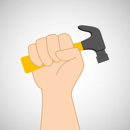 hand holding construction tool hammer, vector illustration Illustration