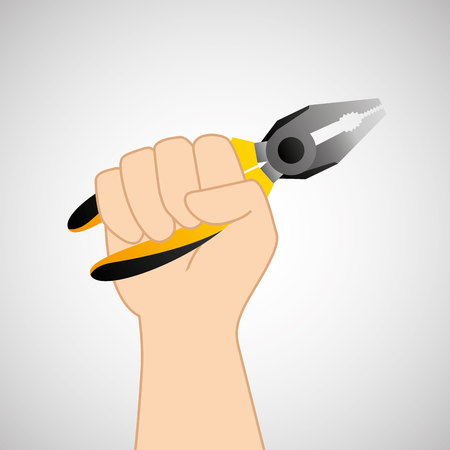 architectural team: hand holding construction tool wire Strippers, vector illustration