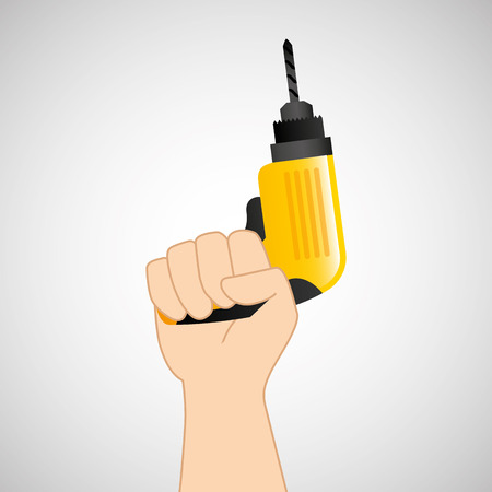 architectural team: hand holding construction tool icon, vector illustration