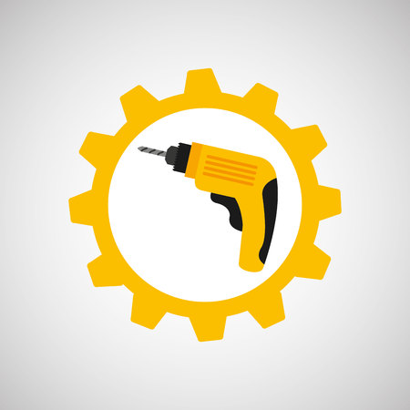 architectural team: drill and construction tool icon, vector illustration