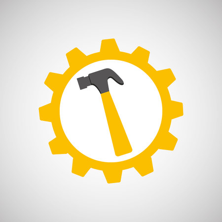 architectural team: hammer and construction tool icon, vector illustration
