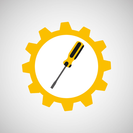 architectural team: Screwdriver and construction tool icon, vector illustration