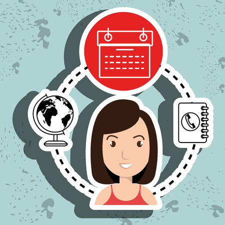 worl: woman calendar and worl isolated icon design, vector illustration  graphic