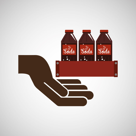 tonic: hand holding with soda icon, vector illustration