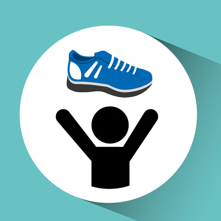 life style: shoes for exercise, healthy life style, vector illustration