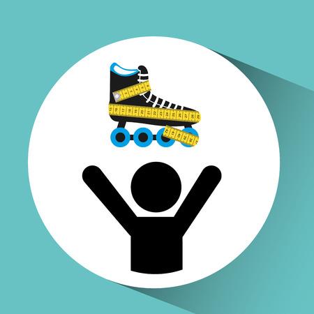 roller skates: roller skates, healthy life style, vector illustration