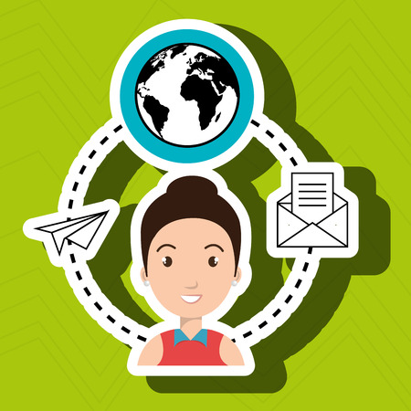 worl: woman with world and envelope isolated icon design, vector illustration  graphic