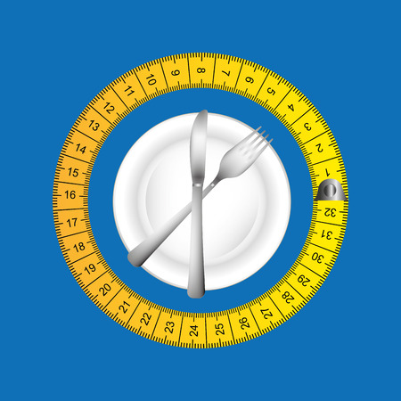 life style: plate and cutlery surrounded by tape measure, healthy life style, vector illustration