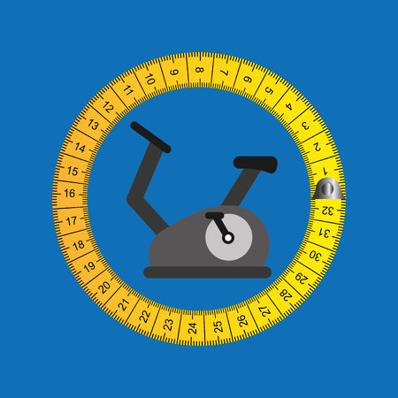 stationary bicycle: stationary bicycle surrounded bu tape measure, healthy life style, vector illustration Illustration