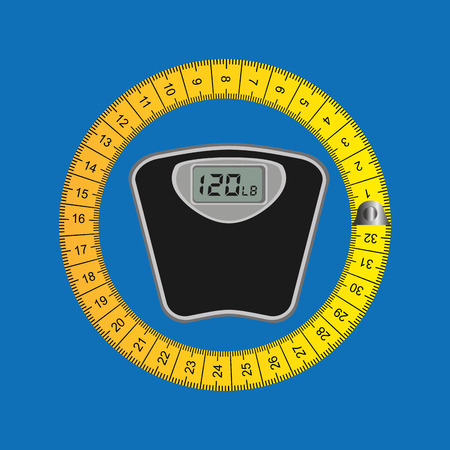 weighing machine: weighing machine surrounded by tape measure, healthy life style, vector illustration