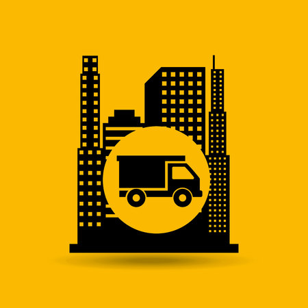 architectural team: construction car icon and architecture, vector illustration