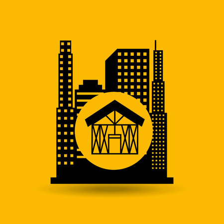 house construction: construction house icon and architecture, vector illustration