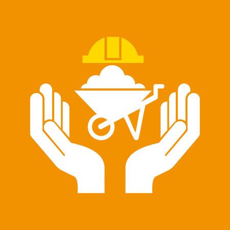 construction Wheelbarrow icon and architecture, vector illustration