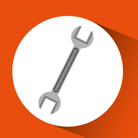 hand holding construction wrench icon, vector illustration Illustration