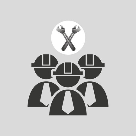 architectural team: two construction tool wrench icon, vector illustration Illustration