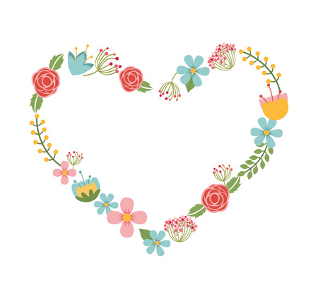 wedding heart: floral wreath heart isolated icon design, vector illustration  graphic Illustration