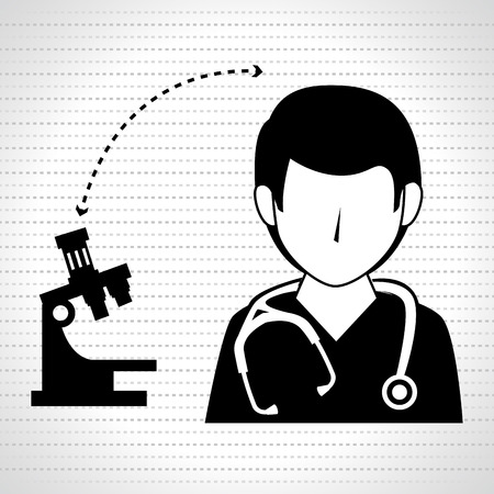 microscope isolated: nurse man and microscope isolated icon design, vector illustration  graphic
