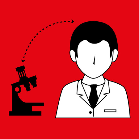 microscope isolated: doctor with microscope isolated icon design, vector illustration  graphic
