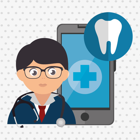 comunicacion oral: doctor cellphone and tooth isolated icon design, vector illustration  graphic Vectores