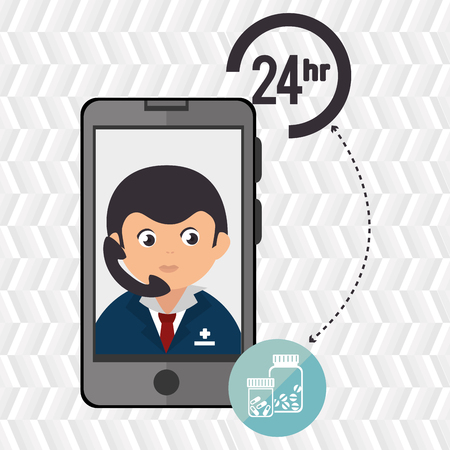 response time: 24-hour health drugstore isolated icon design, vector illustration  graphic