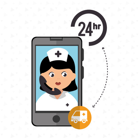 healt: nurse 24-hour health ambulance isolated icon design, vector illustration  graphic