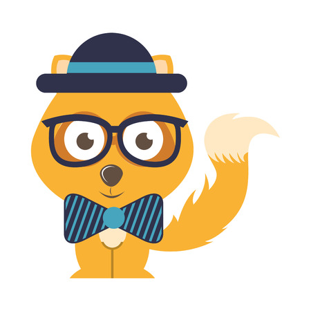 fx: fox character hipster style isolated icon design, vector illustration  graphic Illustration