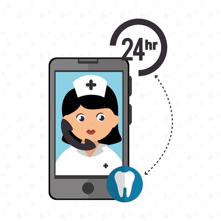 odontology: nurse 24-hour health odontology isolated icon design, vector illustration  graphic