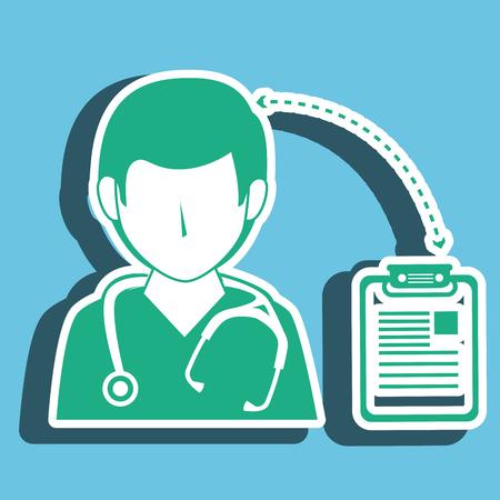 historia clinica: el hombre y la historia clínica de la enfermera aislado icono del diseño, ejemplo gráfico del vector Vectores