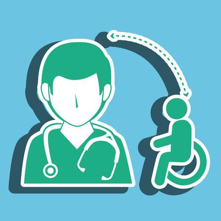 chirurgo: infermiera uomo e disabilit isolato icona di design, illustrazione grafica vettoriale