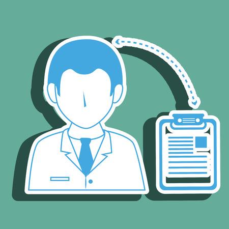 historia clinica: médico con el diseño de la historia clínica aislada icono, ejemplo gráfico del vector
