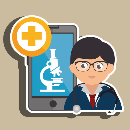 microscope isolated: doctor cellphone and microscope isolated icon design, vector illustration  graphic Illustration