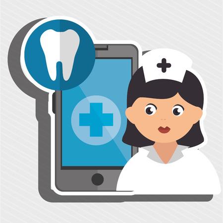 comunicacion oral: enfermera y aislado odontolog�a dise�o de iconos, ejemplo gr�fico del vector