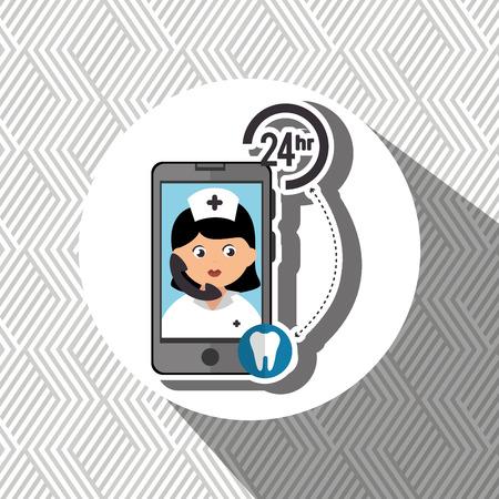 comunicacion oral: enfermer�a las 24 horas odontolog�a de salud aislados icono del dise�o, ejemplo gr�fico del vector