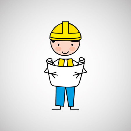 worker engineer architect isolated, vector illustration eps10