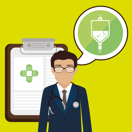 family physician: doctor stethoscope specialist history clinic vector illustration icon