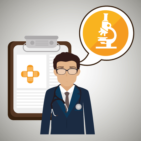 outpatient: doctor stethoscope specialist history clinic vector illustration icon