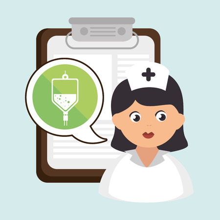 nursing record: woman medical service icon isolated, vector illustration
