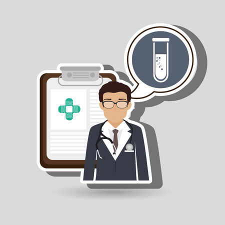specialist: doctor stethoscope specialist history clinic vector illustration icon