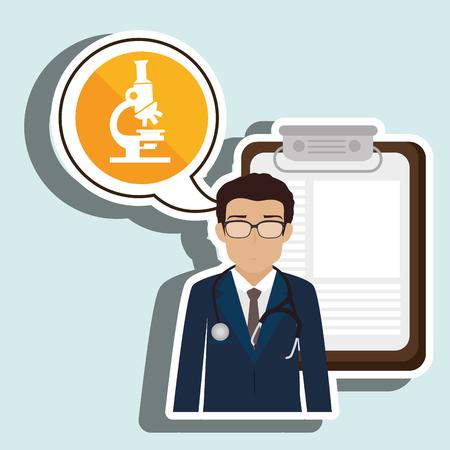 clinic history: estetoscopio m�dico especialista en la historia cl�nica de la ilustraci�n del vector del icono Vectores