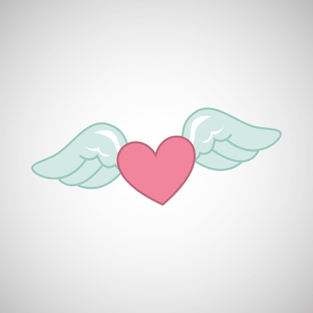 angelic: angel wings religion heart love card   isolated, vector illustration eps10