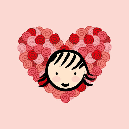flower heart: flower heart rose   isolated, vector illustration eps10 Illustration