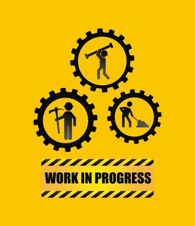 seguridad industrial: bajo el diseño de icono de etiqueta de construcción, gráfico de ilustración vectorial