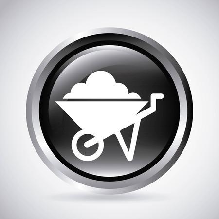 wheel barrow: wheel barrow  in silver button  isolated icon design, vector illustration  graphic
