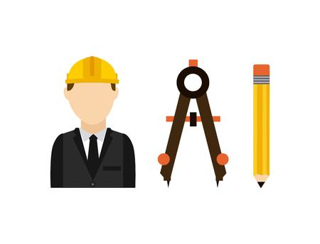 architect tools: architect with tools isolated icon design, vector illustration  graphic Illustration