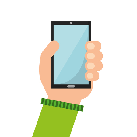smartphone in hand: smartphone hand icon touchscreen phone illustration vector Illustration