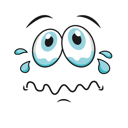 sad funny cartoon face icon, vector illustation