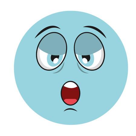 illustation: tired cartoon face icon, vector illustation character